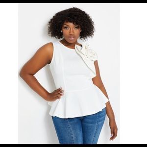White peplum top wth leather faux bow